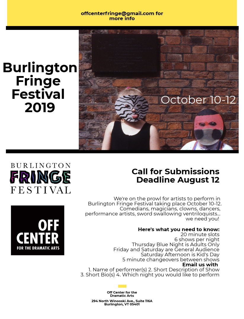 burlington fringe festival 2019 - off center for the